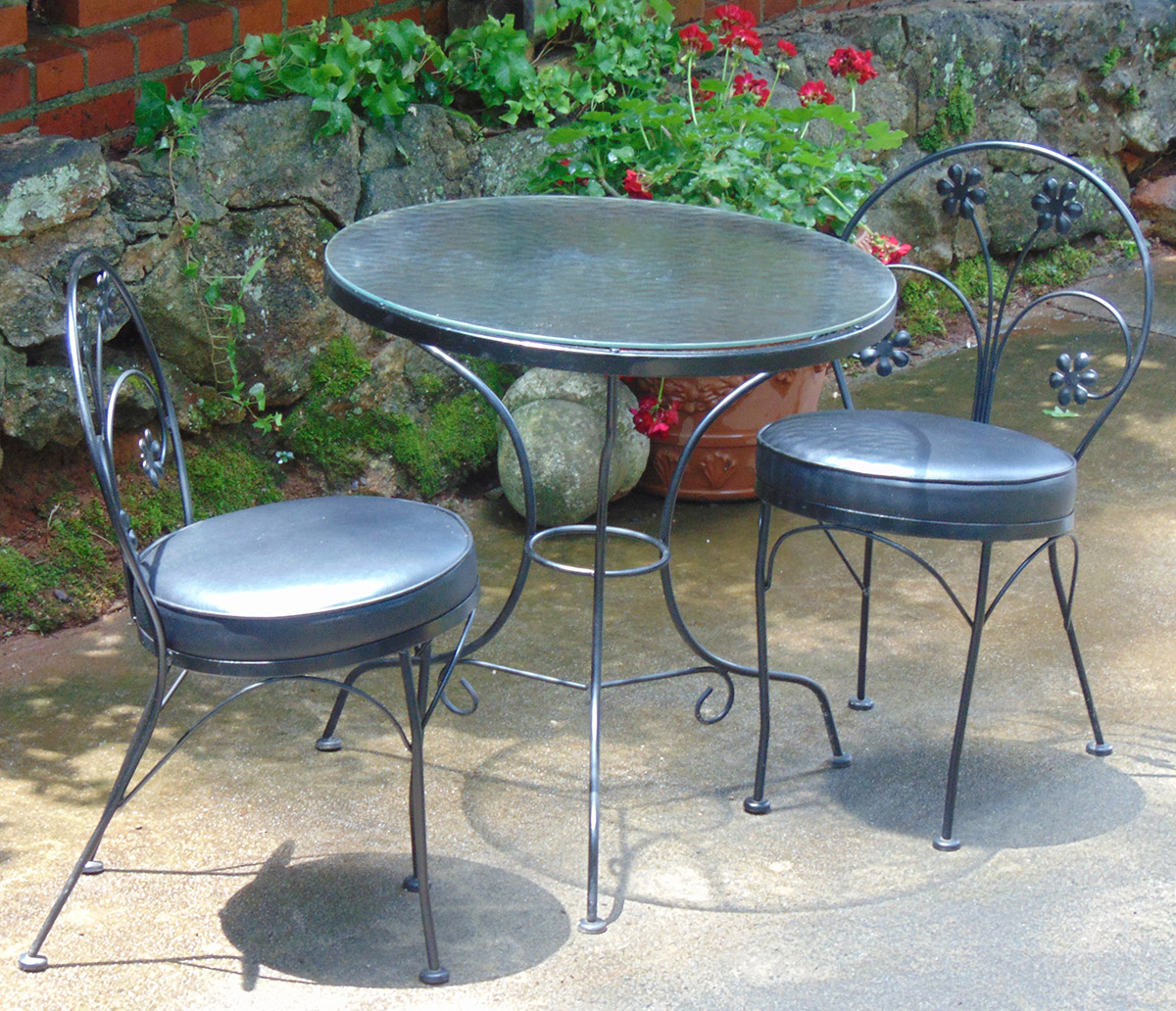 Items for sale david watkins designs for Wrought iron cafe chairs